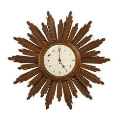 French Sunburst Clock with Porcelain Face