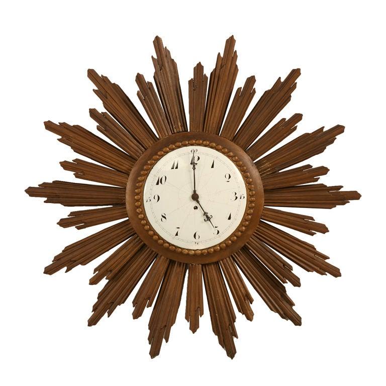Amazing Vintage French Sunburst Clock With Porcelain Face