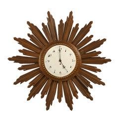 French Sunburst Clock with Porcelain Face