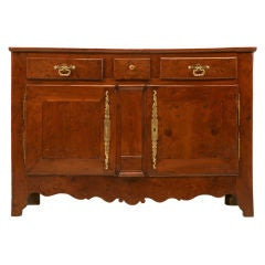 French 18th c Louis XIII Solid Yew Wood Buffet