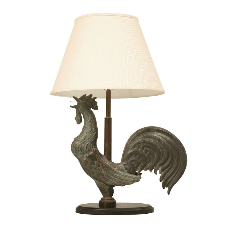 Exquisite Antique French Copper Rooster Weathervane Lamp
