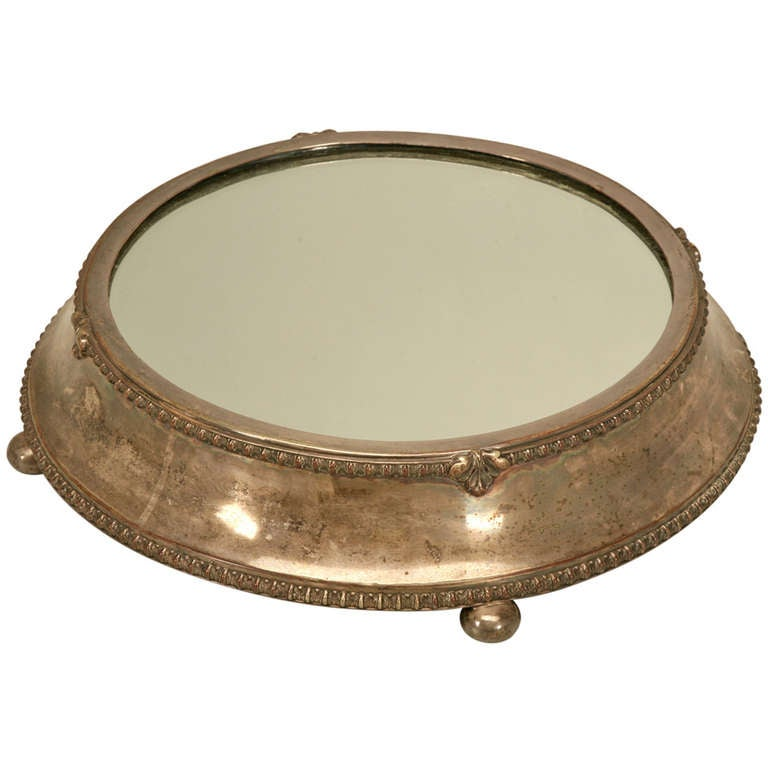 Large Antique English Silver Plated Mirror Plateau By Fenton Bros Ltd For Sale At 1stdibs