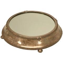Large Antique English Silver Plated Mirror Plateau by Fenton Bros. Ltd
