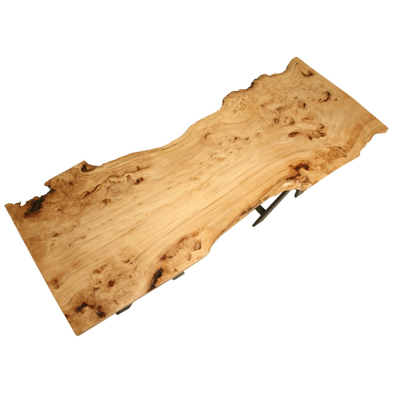 French Burl Elm Slab Dining Table, or Desk