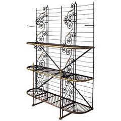 Antique French Baker's Rack from Paris with Brass Fittings