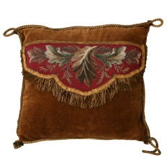 Awesome Antique Beaded Pillow w/Real Bronze Bullion Cord Trim