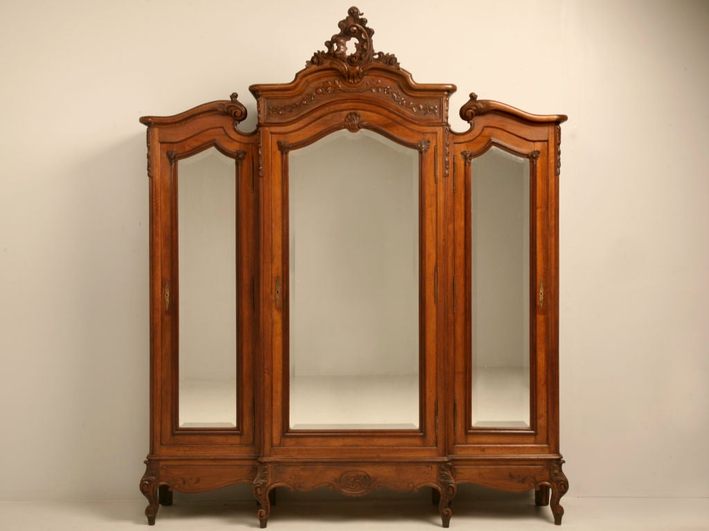 exquisite antique french rococo triple walnut armoire w. Black Bedroom Furniture Sets. Home Design Ideas