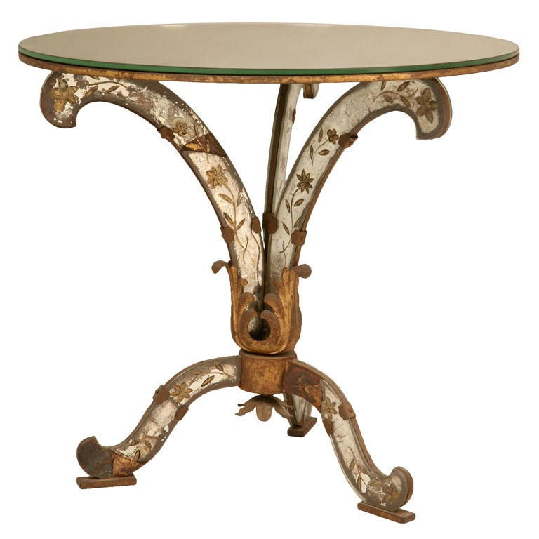 Exquisite Petite Vintage French Eglomise End, Side, Coffee Table