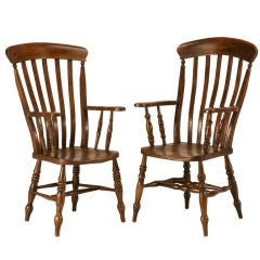 Magnificent Pair of Antique Comb-Back Windsor Arm Chairs