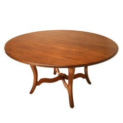 Vintage English Handcrafted Solid Cherry Round Dining Table