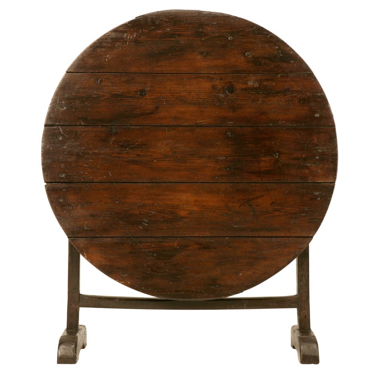Rustic Original Antique French Tilt-Top Wine/Games Table at 1stdibs