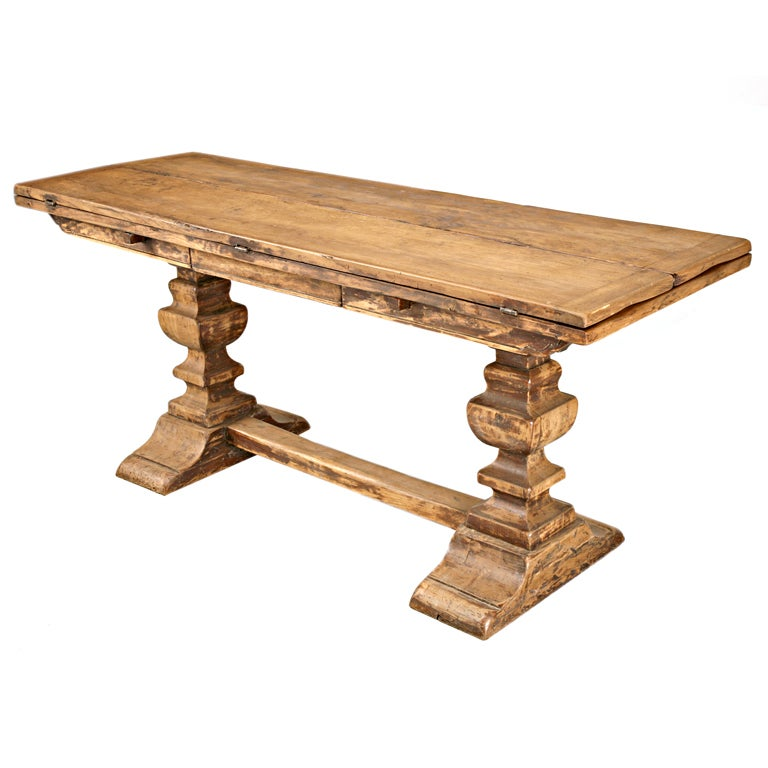 Unique 18th c catalan flip top white oak sofa dining table for Unusual oak dining tables