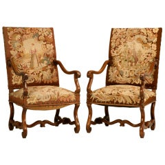 C 1880 Original French Gilt Louis Xiv Style Throne Chairs