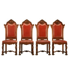4 Killer Vintage French Renaissance Red Leather Side Chairs