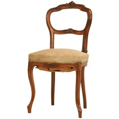 Petite Antique French Rococo Side Chair in Walnut