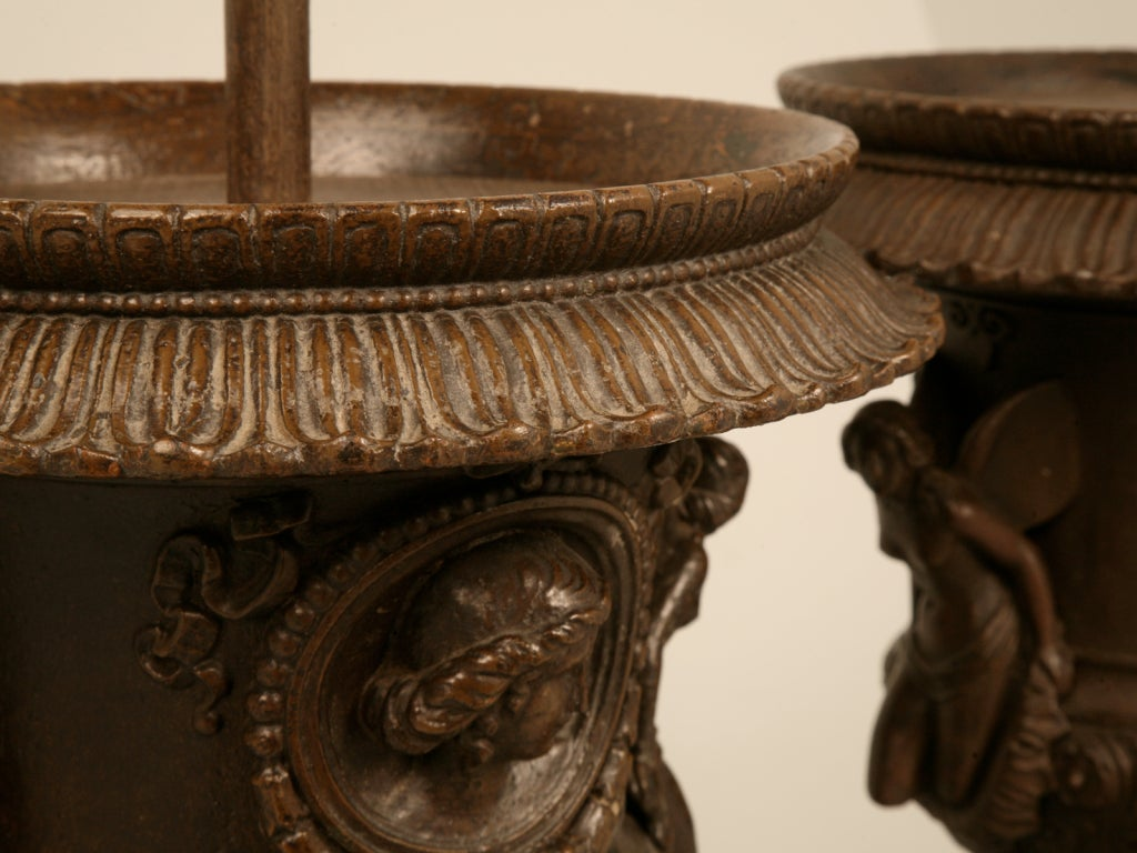 Magnificent Pair of Italian Iron Winged Maidens Urns Fitted as Lamps In Good Condition For Sale In Chicago, IL