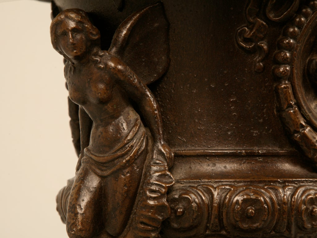 Early 20th Century Magnificent Pair of Italian Iron Winged Maidens Urns Fitted as Lamps For Sale
