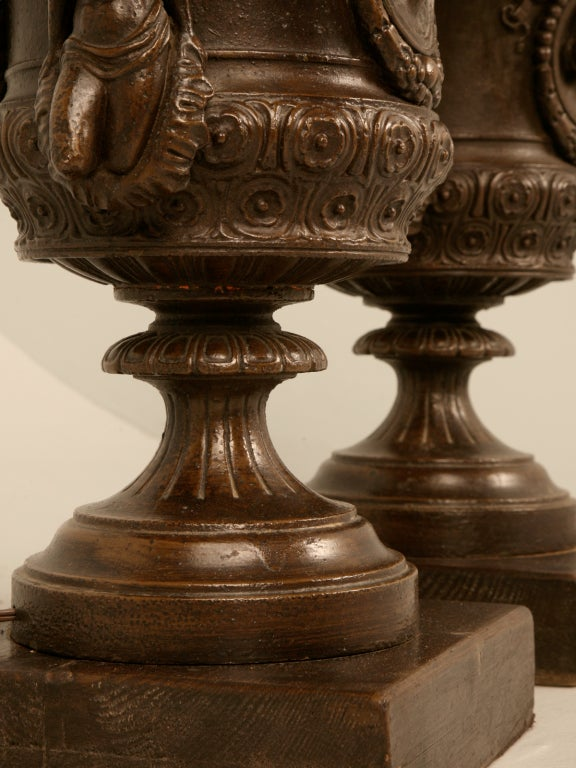 Magnificent Pair of Italian Iron Winged Maidens Urns Fitted as Lamps For Sale 4