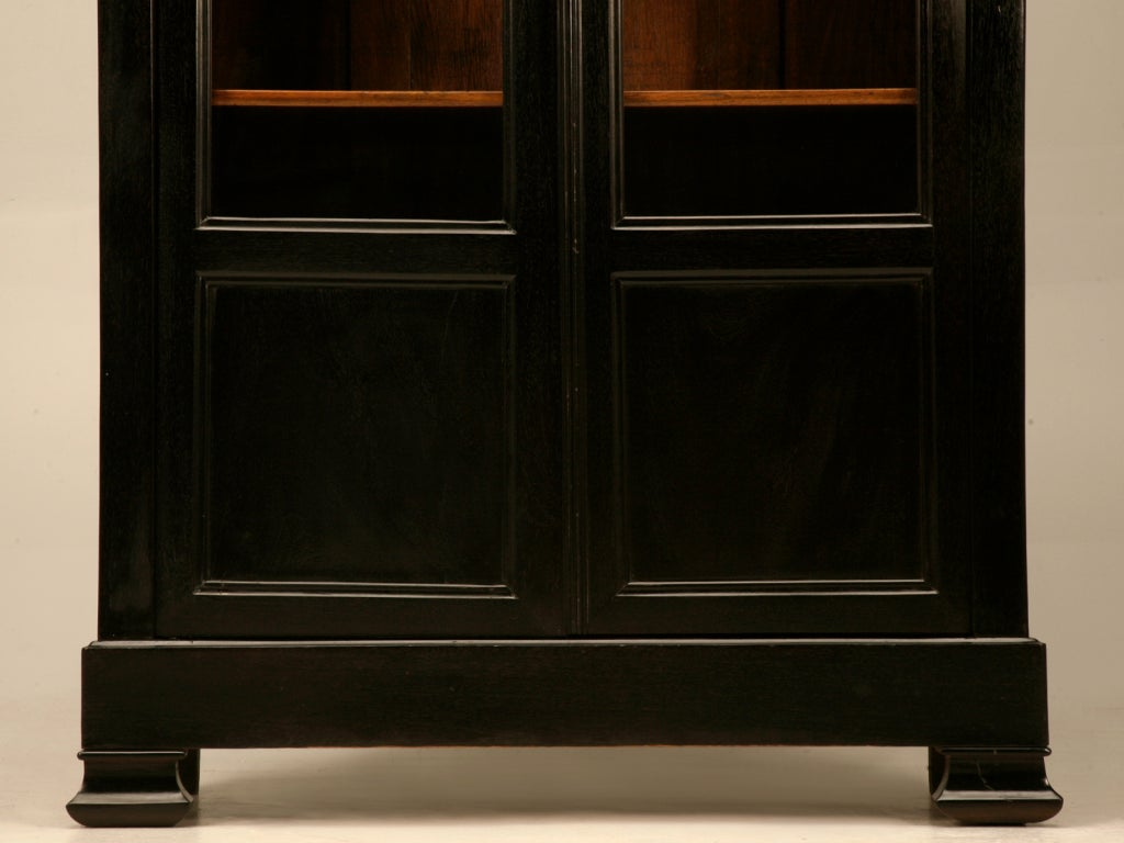 Ebonized petite antique french louis philippe bibliotheque cabinet at 1stdibs - Bibliotheque 6 cases ...