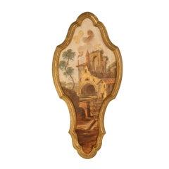 Unique Vintage Italian Keyhole Shaped Painting on Board