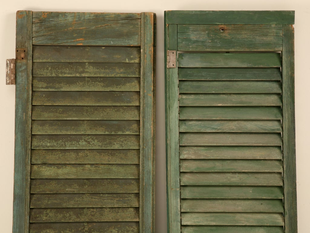 Great Pair of Antique English Original Paint Plantation Shutters 2