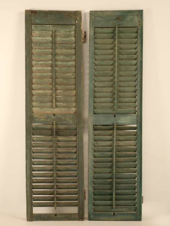 Great Pair of Antique English Original Paint Plantation Shutters 7