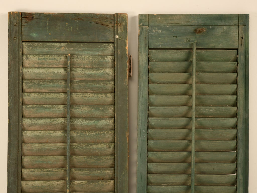 Great Pair of Antique English Original Paint Plantation Shutters 8