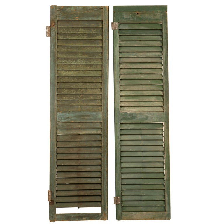 Great Pair of Antique English Original Paint Plantation Shutters 1