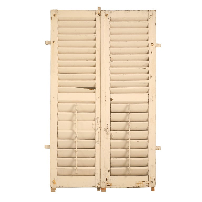 Pair Of Antique French Shutters W Original Paint And