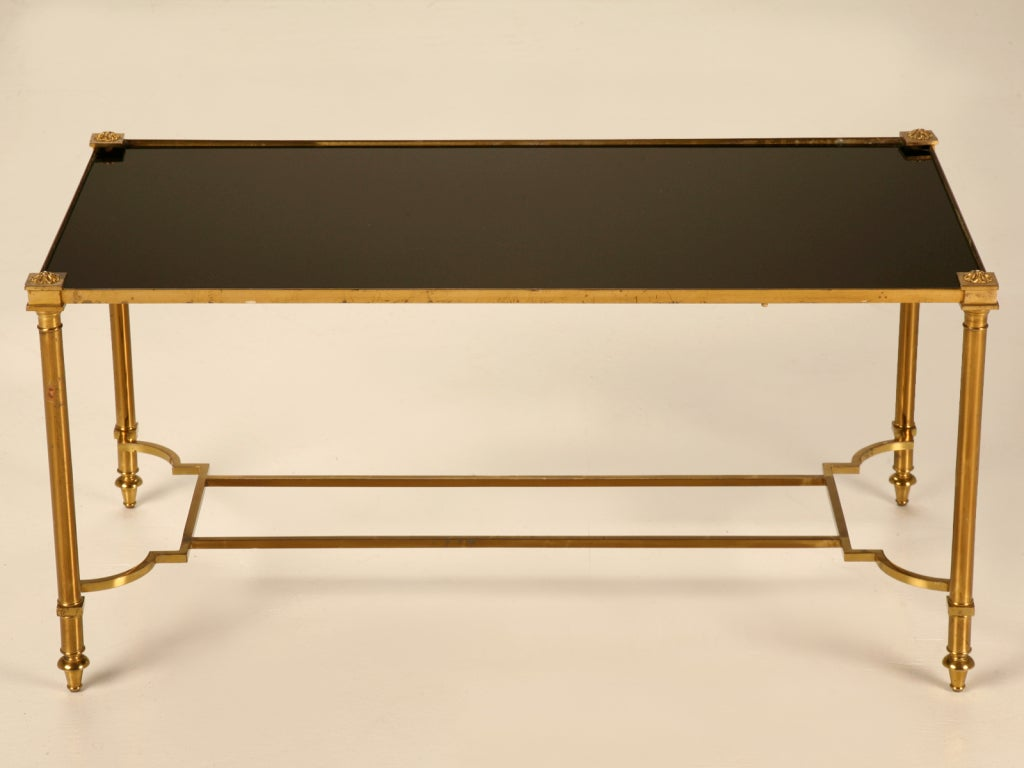 Super Sexy Vintage French Cocktail Table W Original Black Glass At 1stdibs