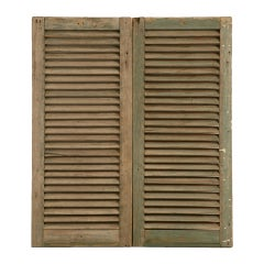Great Pair of Antique English Original Paint Window Shutters