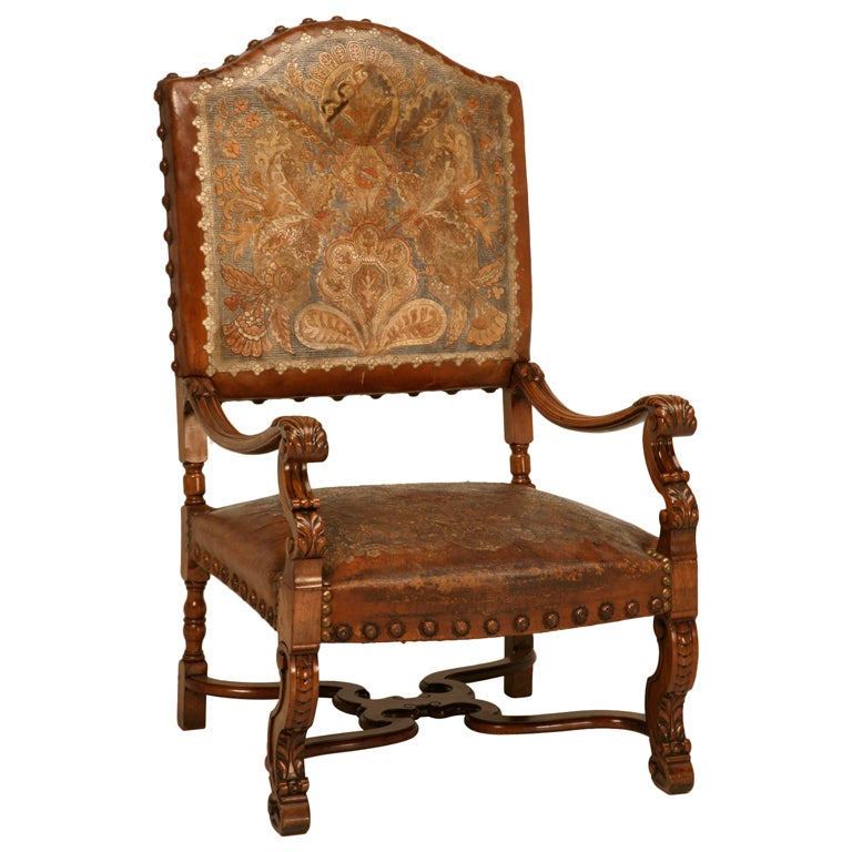 Antique Armchair With Original Tooled And Painted Leather