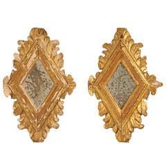 Petite Pair of Original Eighteenth Century Italian Gilt Diamond Shaped Mirrors