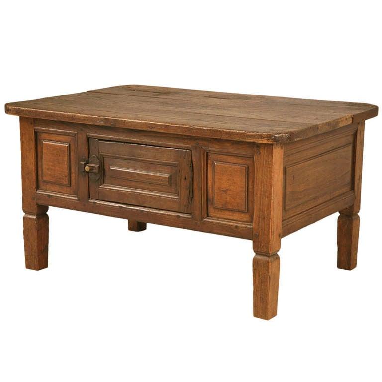Primitive Austrian Oak And Walnut Food Safe Coffee Table W Storage At 1stdibs