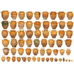 Collection of 63 Original Antique French Confit Pots & Cruche a Eau Water Jugs