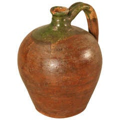 Primitive Antique French Hand Thrown Earthenware Wine Jug