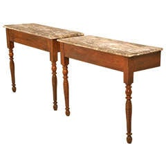 Pair of Antique French Walnut Consoles w/Turned Legs & Faux Marble Tops