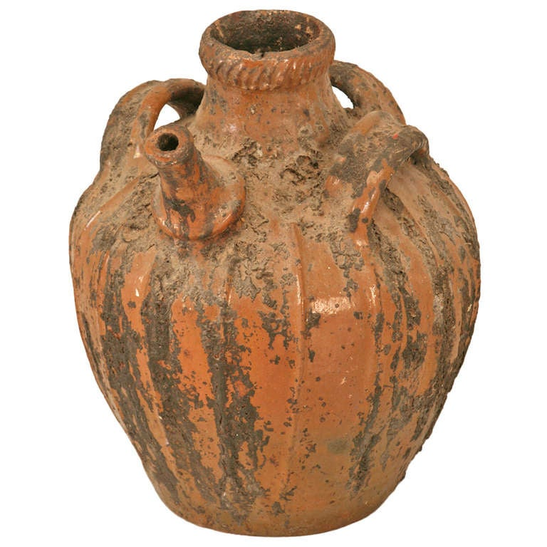 Rustic Early 1800's Handmade Antique French Walnut Oil Jug 1