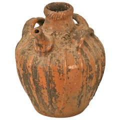 Rustic Early 1800's Handmade Antique French Walnut Oil Jug