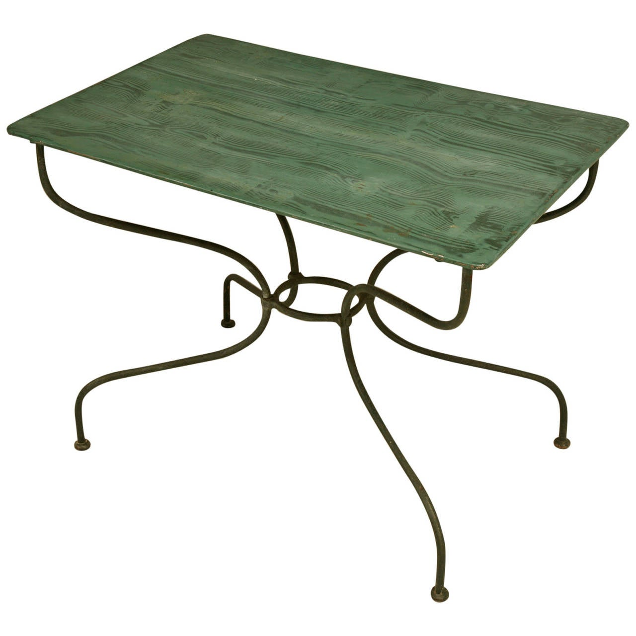French Vintage Garden Or Kitchen Metal Table At 1stdibs