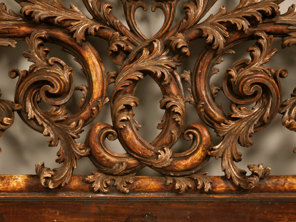 Exquisite Antq. Italian Carved & Gilded Organic Relief/Headboard 10