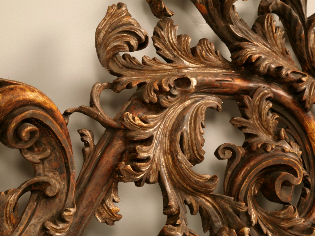 Giltwood Exquisite Antq. Italian Carved & Gilded Organic Relief/Headboard For Sale