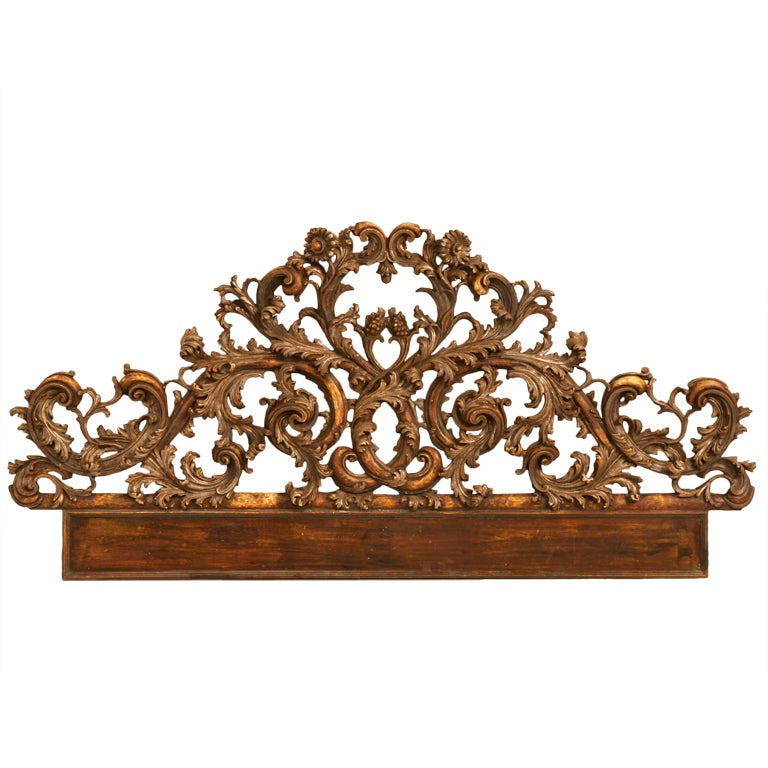 Exquisite Antq. Italian Carved & Gilded Organic Relief/Headboard