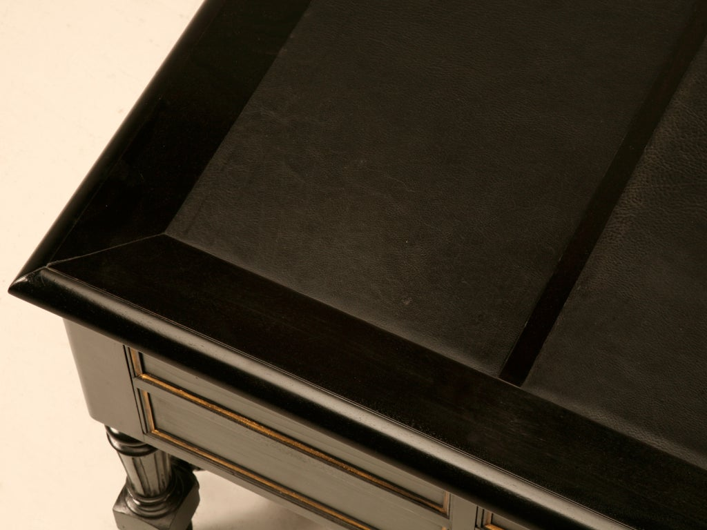 Restored Ebonized Antique French Bureau Plat/Desk w/Gilt Accents image 4
