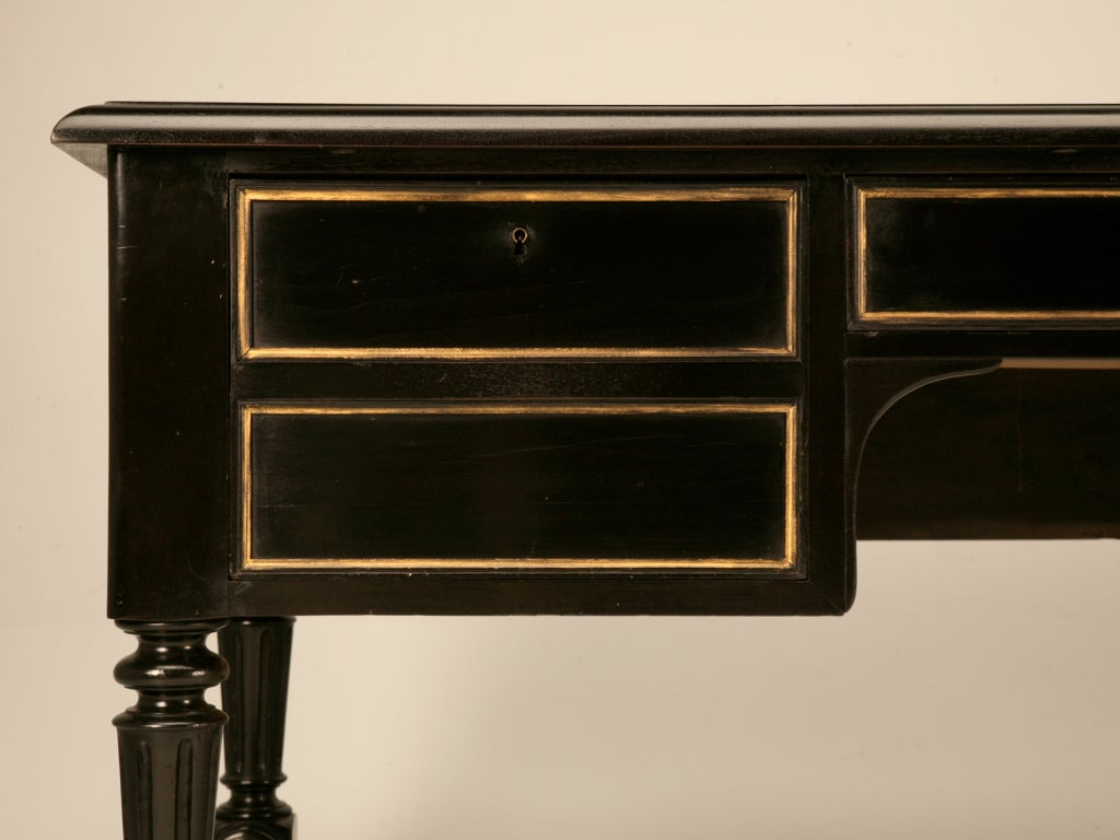 Restored Ebonized Antique French Bureau Plat/Desk w/Gilt Accents image 6