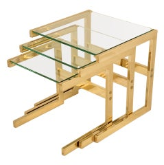 Awesome Set of 3 Mid-Century Modern Brass & Glass Nesting Tables