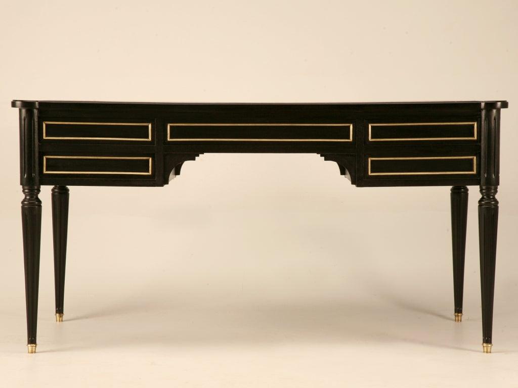 Ebonized Antq. French Louis XVI Bureau Plat w/Black Leather For Sale 6