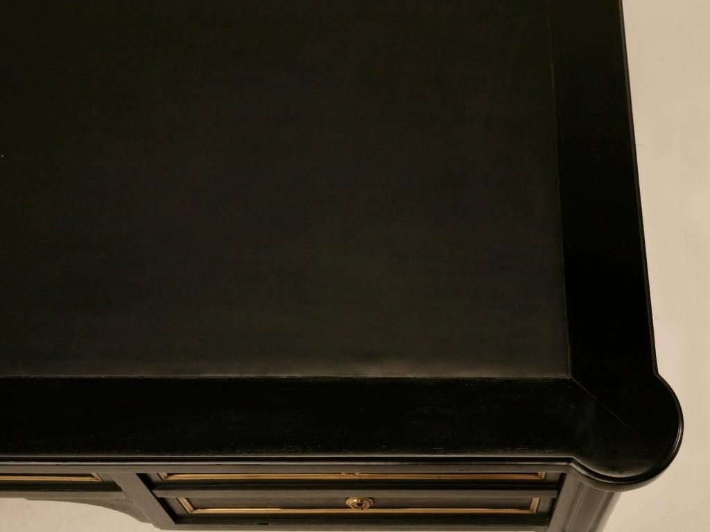 19th Century Ebonized Antq. French Louis XVI Bureau Plat w/Black Leather For Sale