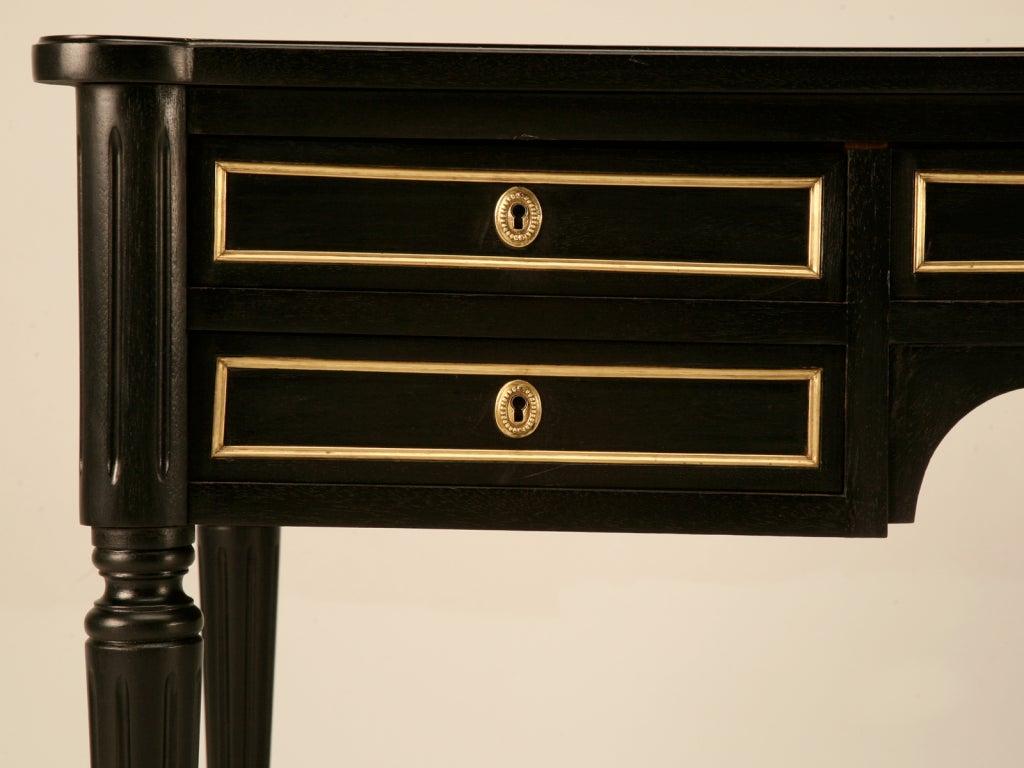 Ebonized Antq. French Louis XVI Bureau Plat w/Black Leather For Sale 2
