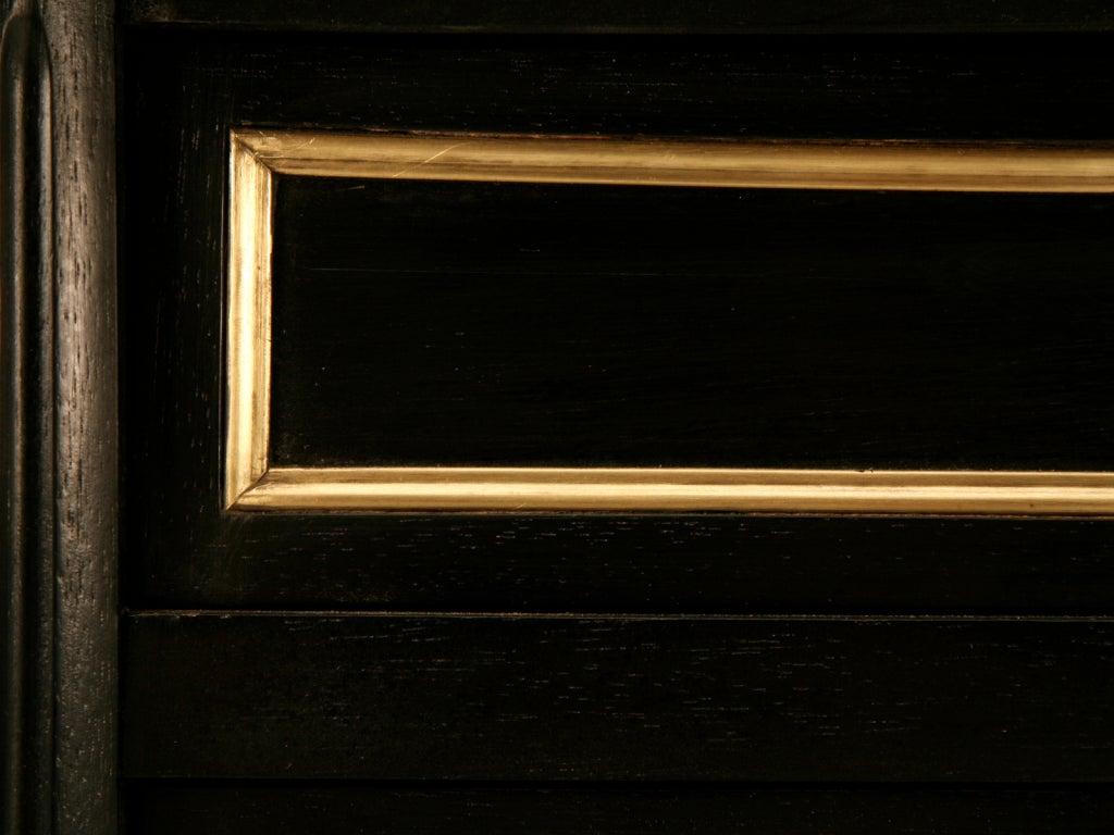 Ebonized Antq. French Louis XVI Bureau Plat w/Black Leather For Sale 3